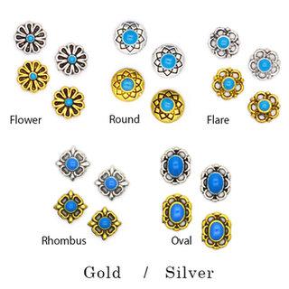 コンチョメタルネイルパーツ全5種[ゴールド/シルバー]ターコイズ5個入  (543881)