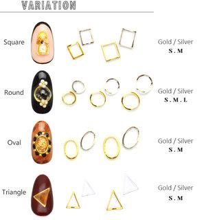 メタルフレームパーツ[ゴールド/シルバー] 選べる4種 5個入 カーブ付フラットタイプ  (575526)