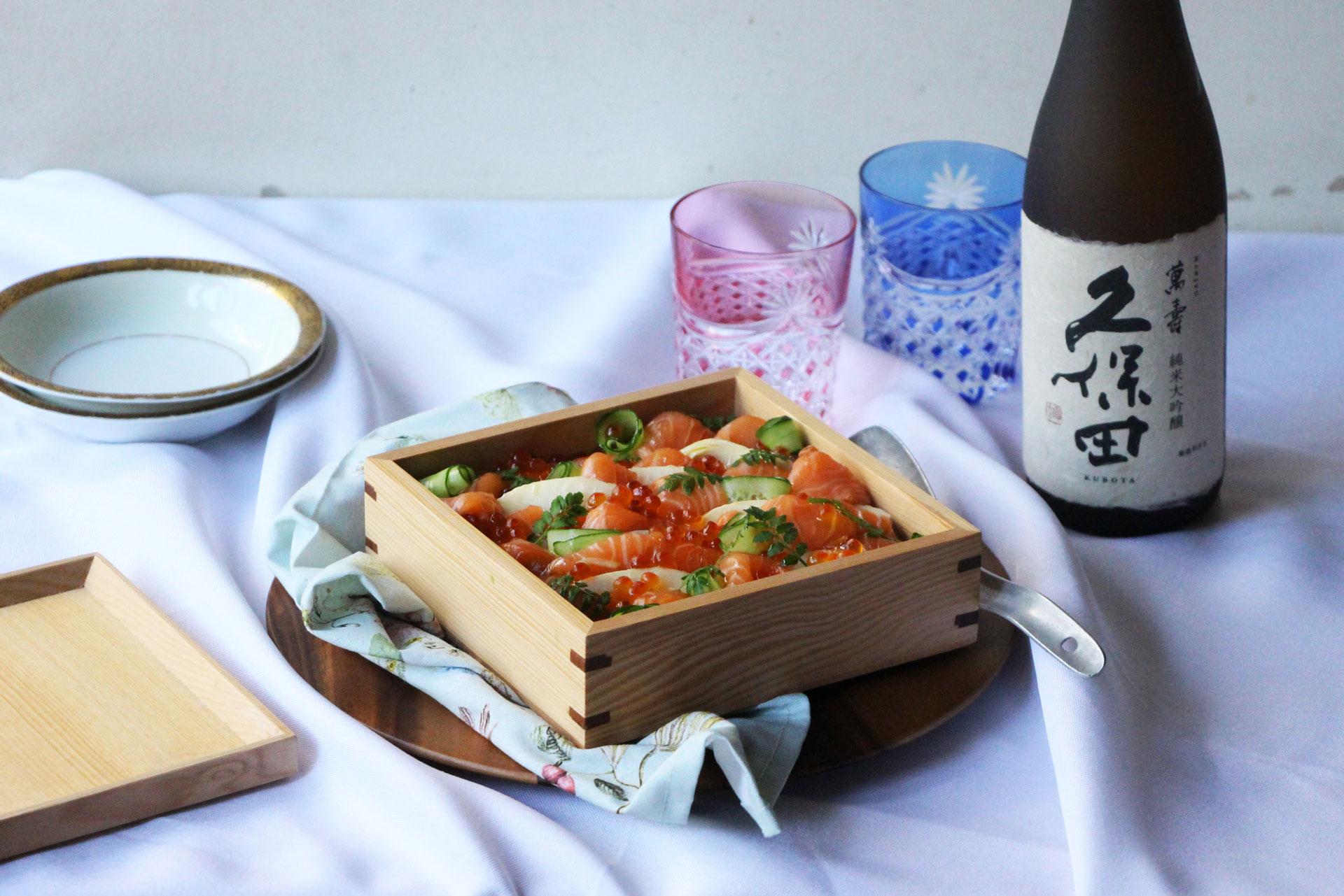 日本酒をもっと楽しむおつまみレシピ|サーモンとたけのこのちらし寿司