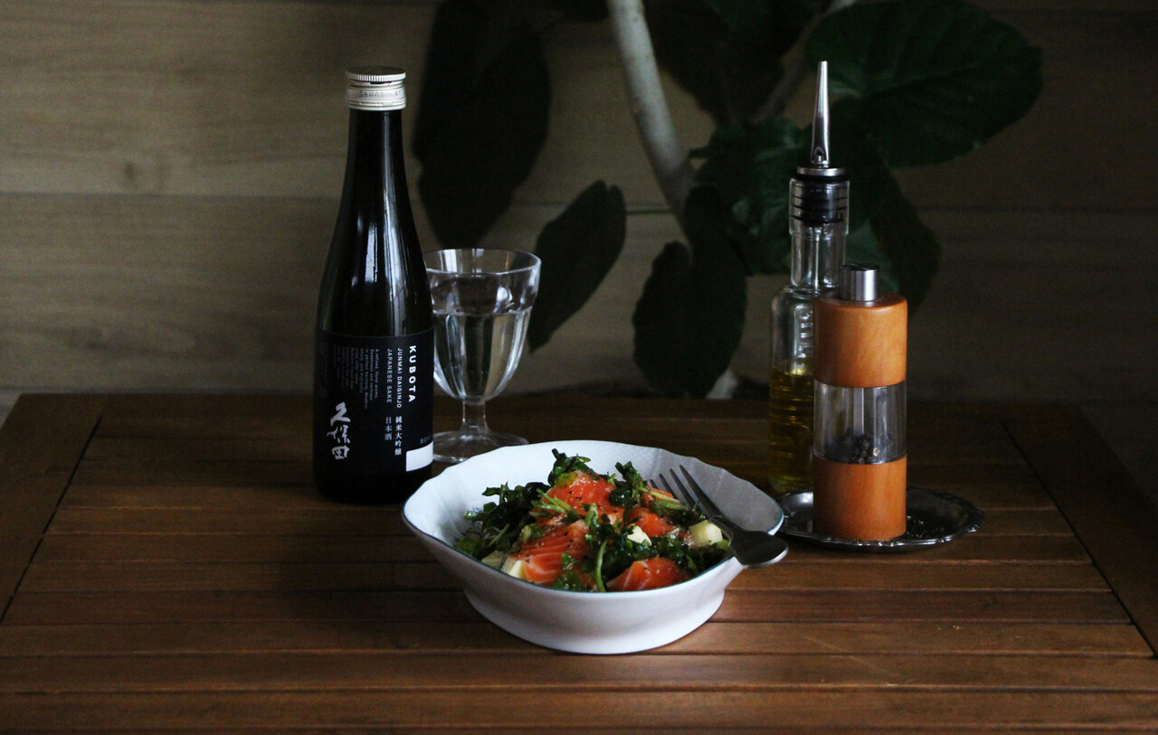日本酒をもっと楽しむおつまみレシピ|サーモンとクレソンのマリネ
