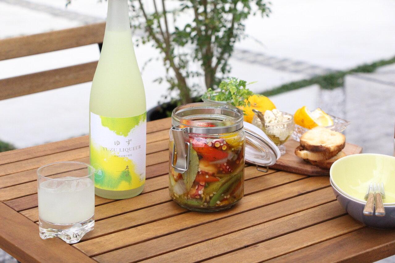 日本酒をもっと楽しむおつまみレシピ|タコと春野菜の瓶詰めマリネ