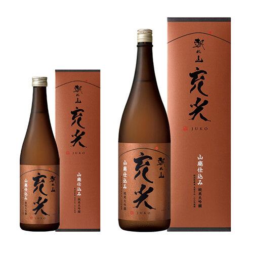 箱の前に置かれた瓶入りの朝日山 充光 純米大吟醸の商品画像