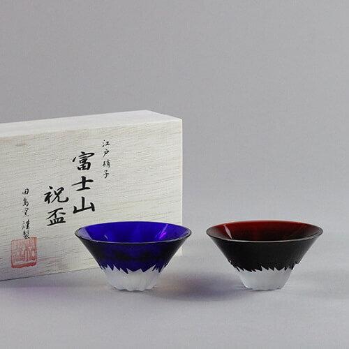彫刻硝子 赤青富士 祝盃の商品画像