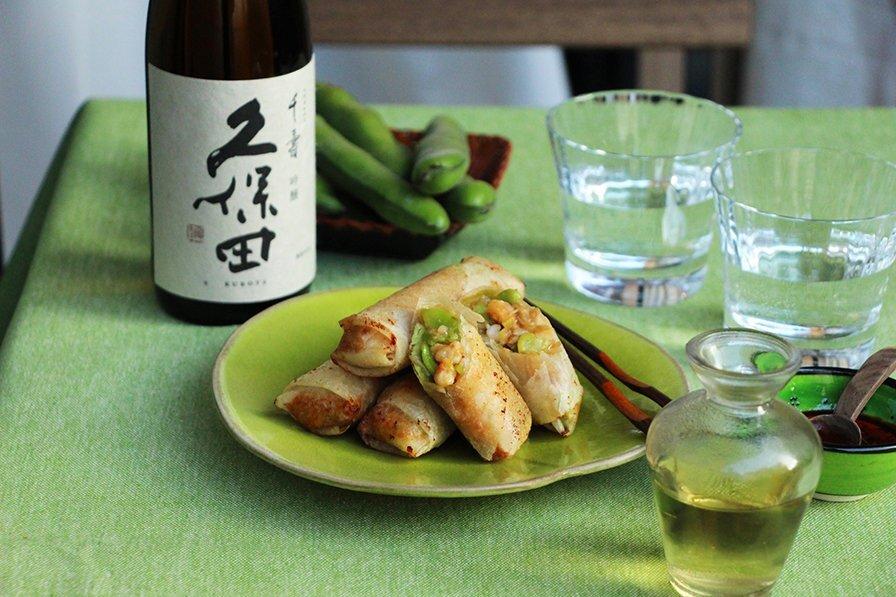 日本酒をもっと楽しむおつまみレシピ|そら豆と海老の春巻き - KUBOTAYA