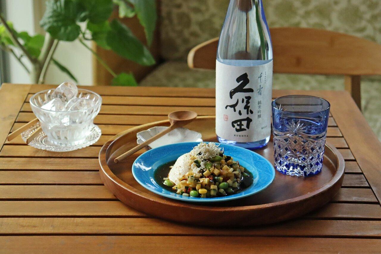 日本酒をもっと楽しむおつまみレシピ しらすと夏野菜マリネのせ冷奴 - KUBOTAYA