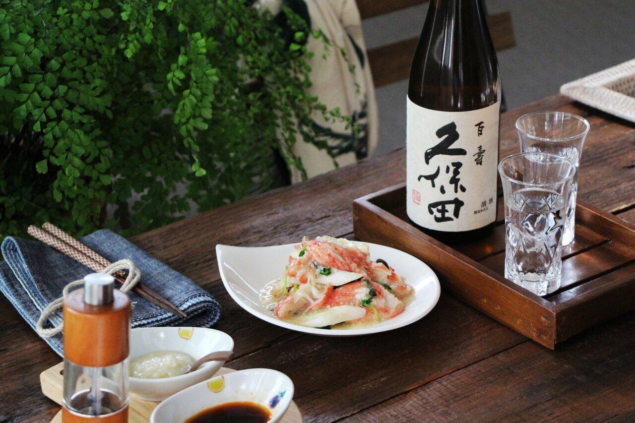 日本酒をもっと楽しむおつまみレシピ カニカマとネギの塩麹蒸し - KUBOTAYA