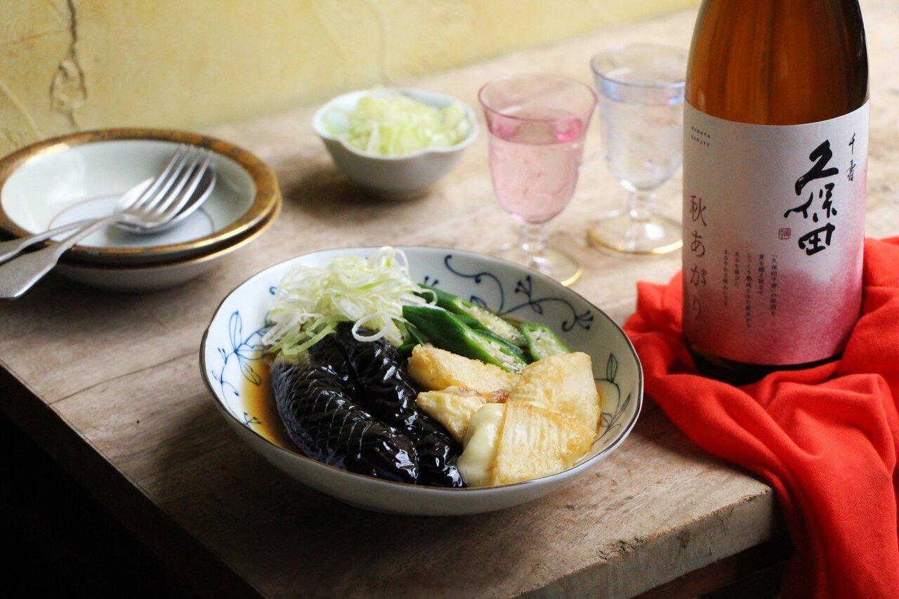 日本酒をもっと楽しむおつまみレシピ|なすとカマンベールの揚げ浸し - KUBOTAYA
