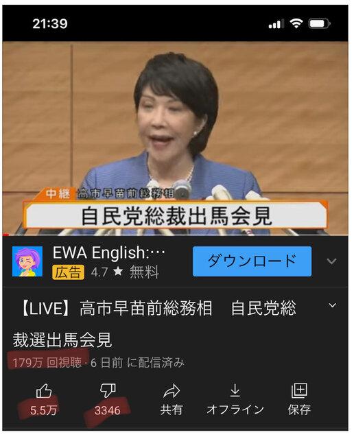 高市氏記者会見の再生数/反応