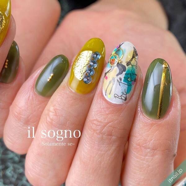 「グリーン」×「ゴールド」で彩り鮮やかな『大人のサマーネイル』づくり