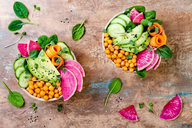 菜食主義者は、アボカド、ニンジン、ほうれん草、ひよこ豆...