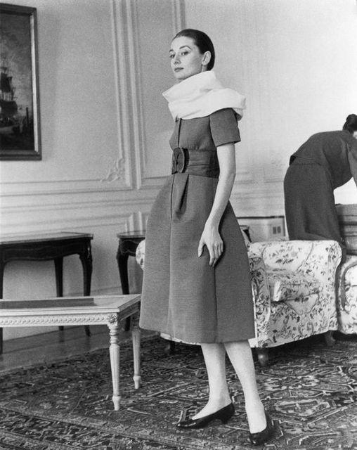 Rare Audrey Hepburn — Audrey Hepburn, wearing Givenchy, stands... (15017)
