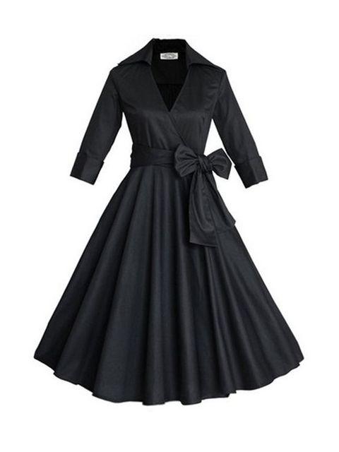 新品 五分袖 クラシック 大裾 ワンピース 11452047 -  デートワンピース - Doresuwe.Com (15021)