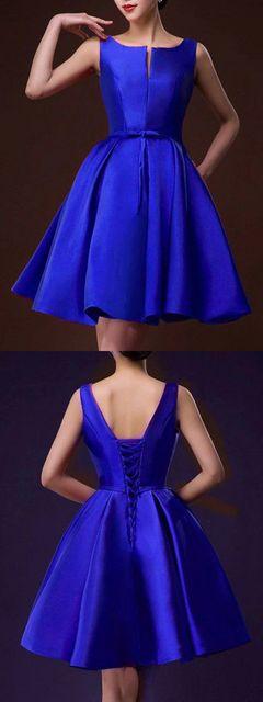 Blue Plunge Neck Bowknot Waist Lacing Back Prom Skater Dress - Choies.com | スケータードレス、プロムのドレスのアイデア、クリスマスパーティー (17978)