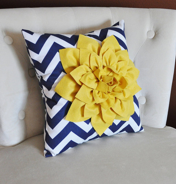 Mellow Yellow Dahlia on Navy and White Zigzag Pillow by bedbuggs (18218)
