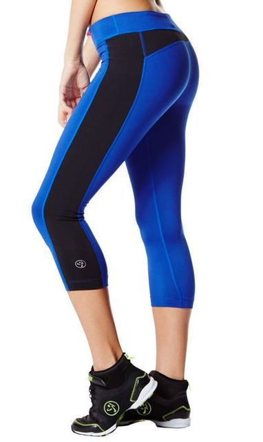 Zumba Dance Fitness Crop It Legging Capri Pants - Blue - Funktional Wearables (23721)