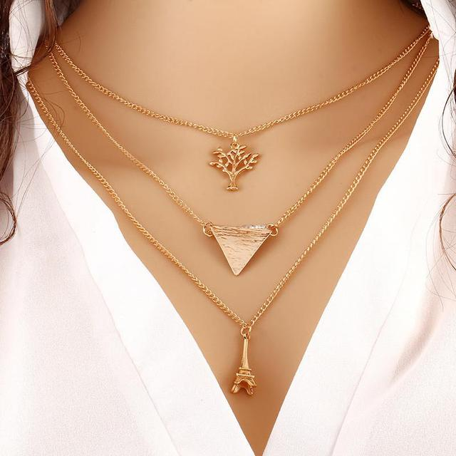Fashion Simple Europe Multilayer Tower Trees Triangle Clavicle Necklac – MeetYoursFashion (46240)