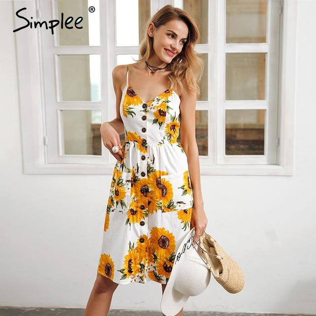 Simplee Strap v neck summer dress women Sunflower print backless party - fashionisin (48679)
