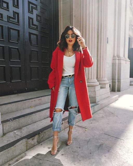 white t-shirt and ripped boyfriend jeans with a red peacoat. Visit Daily Dress Me at dailydressme.com for more inspiration      … | TREND: Ripped Denim | Pinte… (50730)