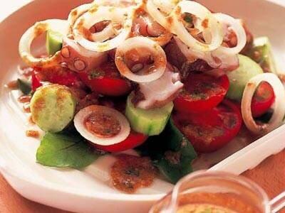 たことトマトのサラダ ごまみそドレッシング レシピ 熊谷 喜八さん|【みんなのきょうの料理】おいしいレシピや献立を探そう (59153)
