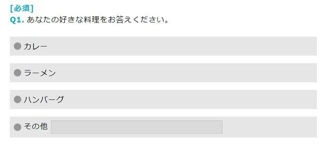 一般的なネットリサーチの回答画面