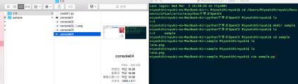 vim sample.pyと記述しEnterキーを押す。