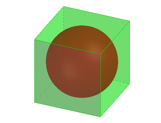 3次元空間における,立方体の中の球
