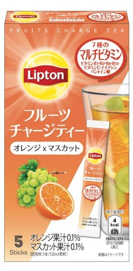 マルチビタミンをプラス!!フレッシュな味わい「リプトン フルーツチャージティー スティック オレンジ&マスカット」