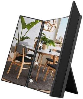 三面鏡:左右の面の角度を調整できる三面鏡で、見づらい襟...