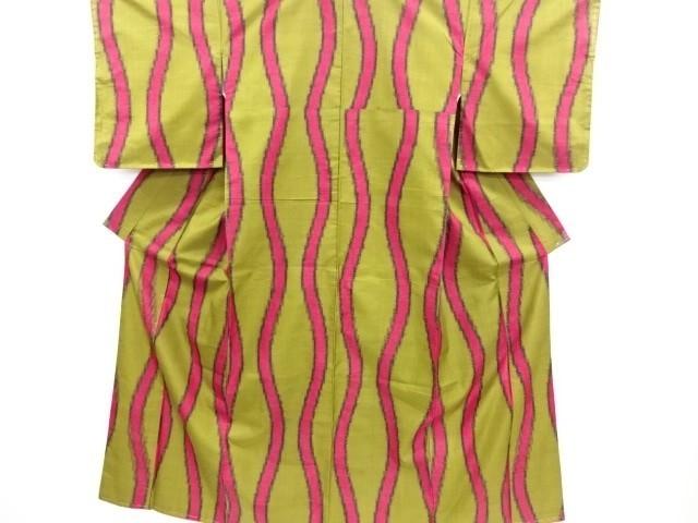 [ アンティーク着物 ] - 大正ロマン 大正ロマン 立涌模様織り出し銘仙着物   着物、アンティーク着物、リサイクル着物のシンエイ (3875)