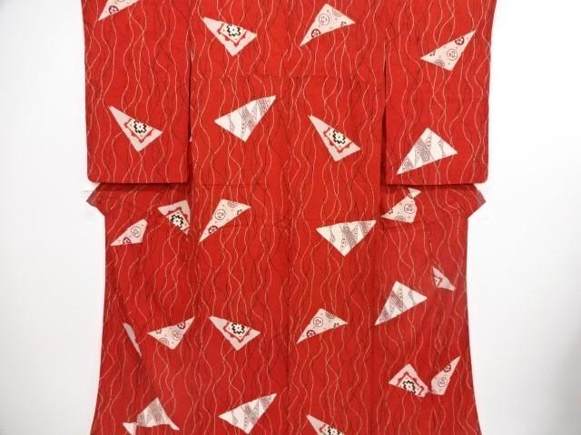 [ アンティーク着物 ] - 大正ロマン 大正ロマン 紋錦紗よろけ縞に幾何学模様着物 | 着物、アンティーク着物、リサイクル着物のシンエイ (3877)