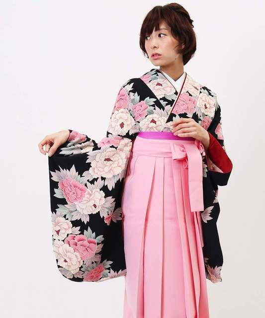 着物レンタルモールhataori   卒業式袴   アンティークカラーの芍薬 (3883)
