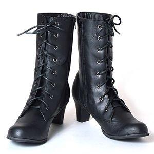 Amazon | [京都きもの町] 袴用ブーツ 黒色 レースアップブーツ (編み上げブーツ) | ブーツ・ブーティ (3887)