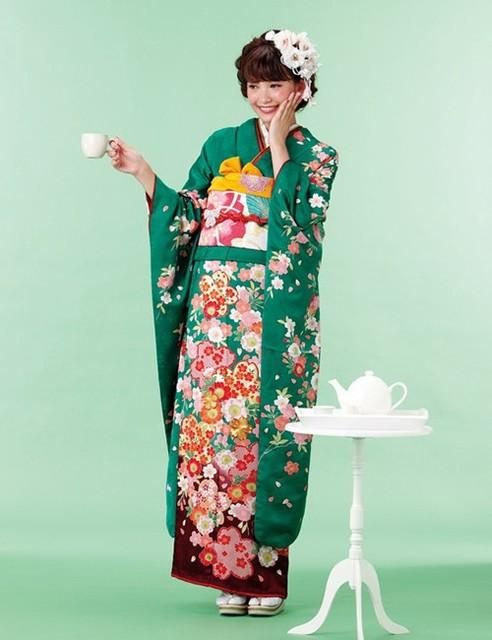 K15 017 かわいい系振袖 緑系(No: 488) / ファーストステージ心斎橋店   My振袖 (10145)