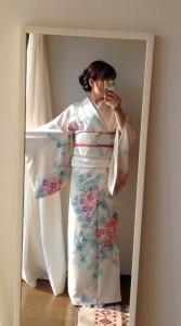 SASEBO de カジュアルキモノ クローバーと桜の付け下げ de 入園式 (10158)