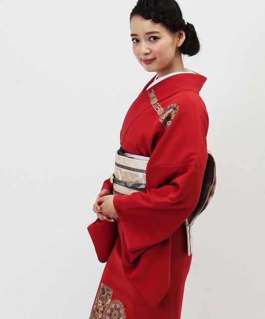 訪問着   赤色 エキゾチックな華文   着物レンタルモールhataori (10856)