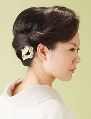 【訪問着ヘア】しっとり大人アップ|夢館ビューティー || 京都 || 着物着付・ドレスヘアセット&メイク || 結婚式・およばれ・パーティに (12491)