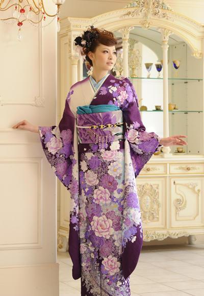はなふり007 白紫 モダン華(No: 4177) / 絹絵屋水戸店 | My振袖 (12836)