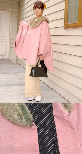 【楽天市場】ケープ レディース ブランド hiromichi nakano ピンク ファー衿 コート ポンチョ アウター 防寒用 和洋兼用 日本製 【フリーサイズ】【あす楽対応】:きもの館 創美苑 (15989)