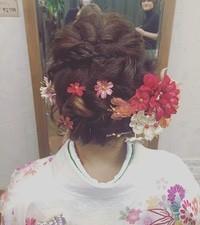 編み込みアレンジ*お着物編*   蘇我・鎌取・都賀の美容室 hair room Gnomesのヘアスタイル   Rasysa(らしさ) (16670)