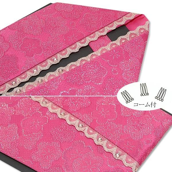 振袖用重ね襟濃いピンク ラメ★梅/スワロフスキー付きレース使用(賑わい2)<R> 振袖用の伊達衿です。スワロフスキークリスタルやレースが使われたこれだけで華やかさの出るタイプです。 伊達衿(伊達襟)・重ね衿 着物通販 京都きもの町 (21018)