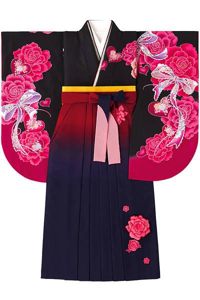 大きな薔薇とリボンの袴