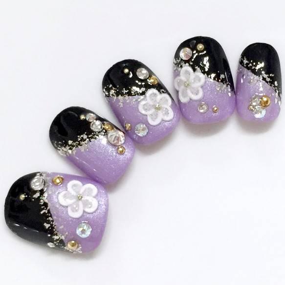 紫・黒・和装・着物【商品番号:10000276】 ネイルチップ 華<HARU>nail ハンドメイド通販・販売のCreema (25508)