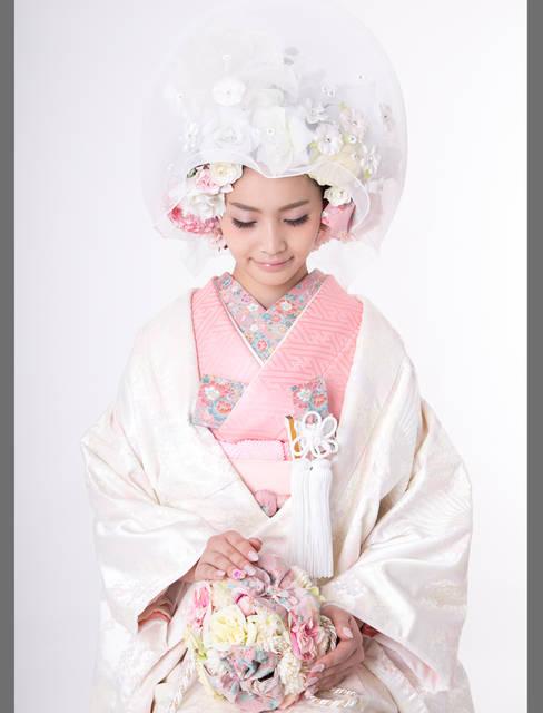 ジュリエットなピンク桜白無垢 | おしゃれ和装ならユイマリー (25644)