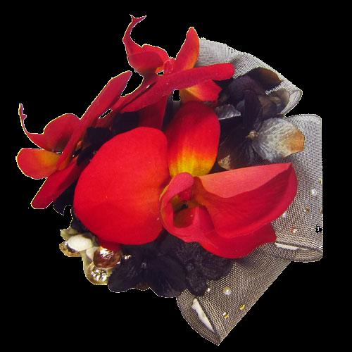 胡蝶蘭とリボンの髪飾り (No.28339) / 蝶々堂・呉服の丸藤 | My振袖 (25737)