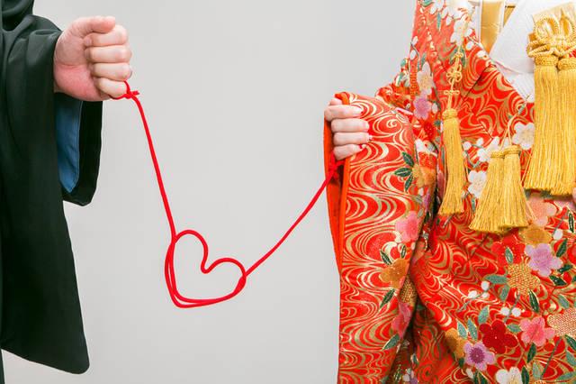 赤い糸を再現フォト