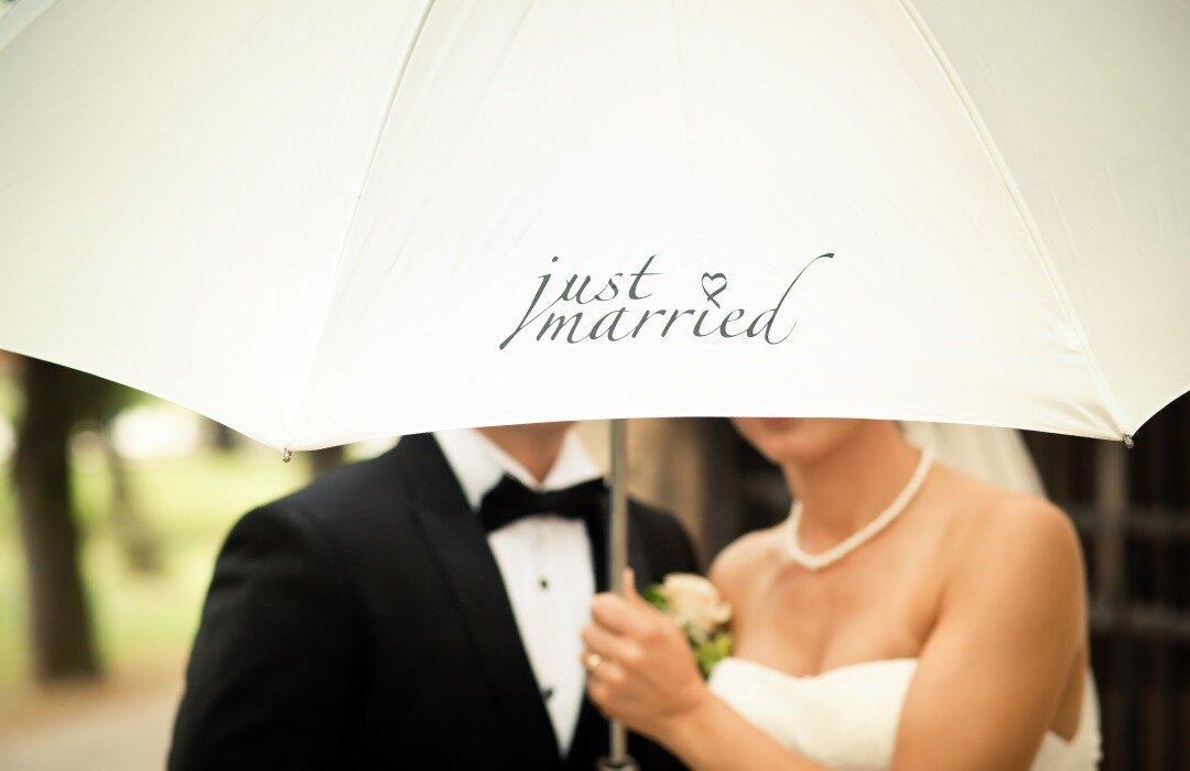 相合い傘をする新郎新婦
