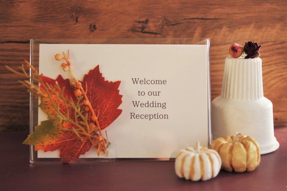 紅葉やかぼちゃなど秋らしさが詰まった結婚式のウェルカムスペース