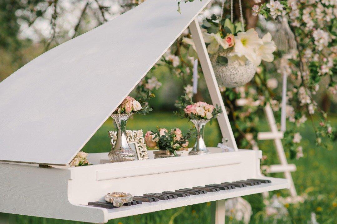 庭にピアノが置かれている様子