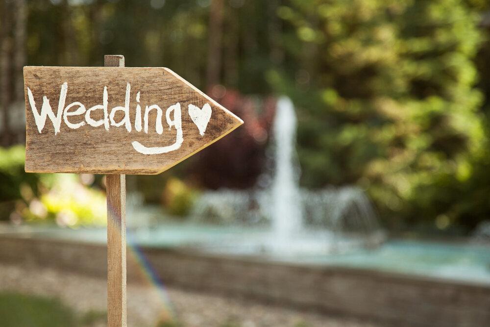 結婚式を案内するボード