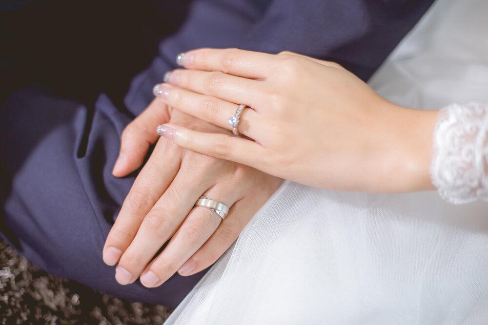 指輪を着けたカップル